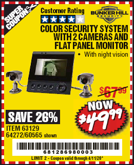 www.hfqpdb.com - COLOR SECURITY SYSTEM WITH 2 CAMERAS AND FLAT PANEL MONITOR Lot No. 62284/63129/64272/60565