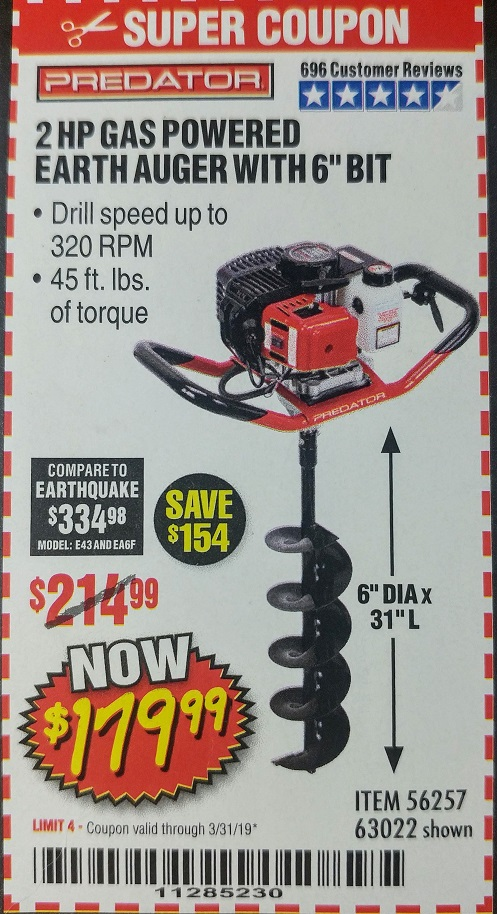 Harbor Freight 2HP GAS POWERED EARTH AUGER W/6