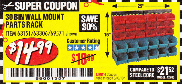 Harbor Freight 30 BIN WALL MOUNT PARTS RACK coupon
