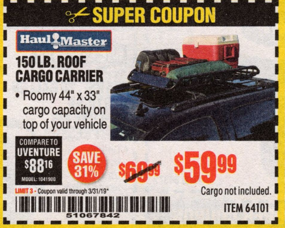 Harbor Freight 150 LB. ROOF CARGO CARRIER coupon
