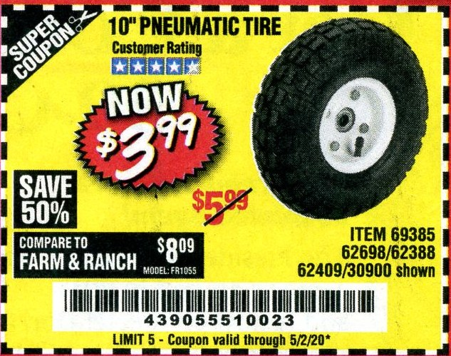 "www.hfqpdb.com - 10"" PNEUMATIC TIRE WITH WHITE HUB Lot No. 62698 69385 62388 62409 30900"