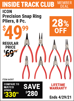 Harbor Freight 8 PIECE PRECISION SNAP RING PLIERS ICON coupon