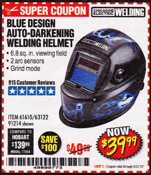 Harbor Freight BLUE DESIGN AUTO-DARKENING WELDING HELMET coupon