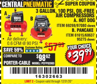 Harbor Freight 3 GALLON, 100 PSI HOT DOG OIL-FREE AIR COMPRESSOR coupon