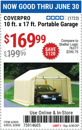Harbor Freight 10 FT. X 17FT. PORTABLE GARAGE coupon