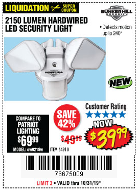 Harbor Freight 2150 LUMENS HARDWIRED LED SECURITY LIGHT coupon