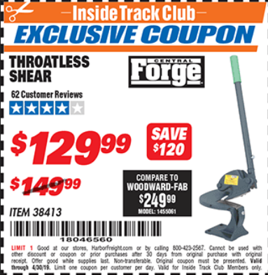 Harbor Freight THROATLESS SHEARS coupon