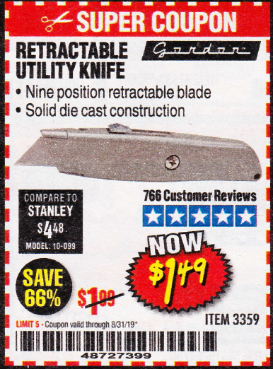 Harbor Freight RETRACTABLE UTILITY KNIFE coupon