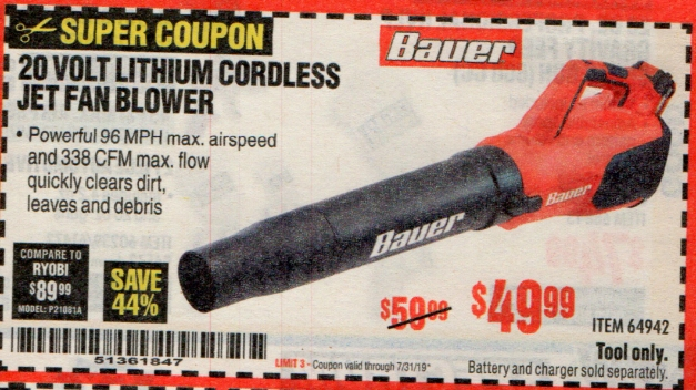 Harbor Freight BAUER 20 VOLT LITHIUM CORDLESS JET FAN BLOWER coupon
