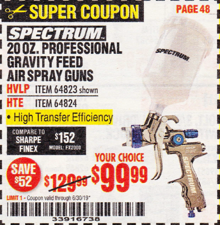 Harbor Freight SPECTRUM 20 OZ. PROFESSIONAL GRAVITY FEED AIR SPRAY GUNS (HVLP/HTE) coupon