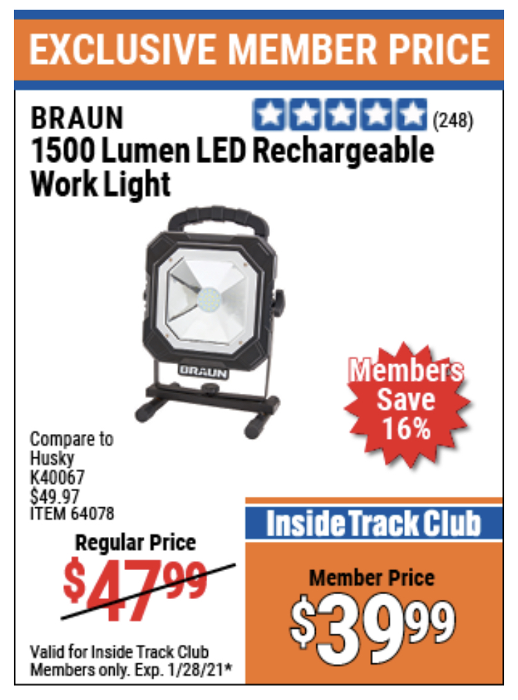 www.hfqpdb.com - BRAUN 1500 LUMENS LED RECHARGEABLE WORK LIGHT Lot No. 64078