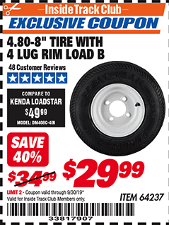Harbor Freight $5 OFF YOUR CHOICE TRAILER TIRES coupon