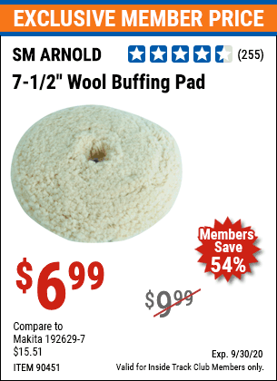 Harbor Freight 7-1/2 IN WOOL BUFFING PAD coupon