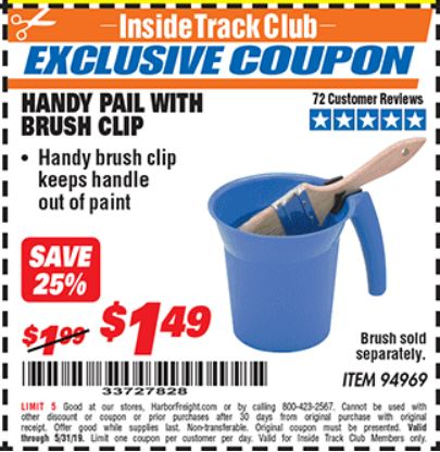 Harbor Freight HANDY PAIL WITH BRUSH CLIP coupon