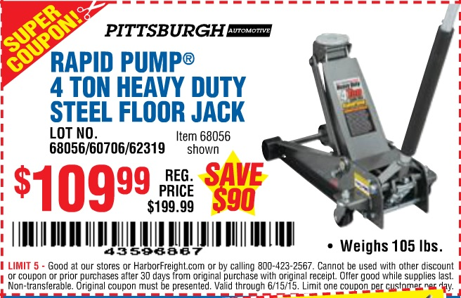 Pittsburgh 1 5 Ton Racing Jack Manual