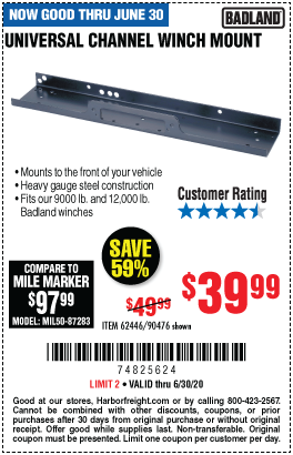 Harbor Freight UNIVERSAL CHANNEL WINCH MOUNT coupon