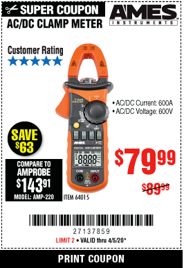 Harbor Freight 600A T-RMS AC/DC CLAMP METER coupon