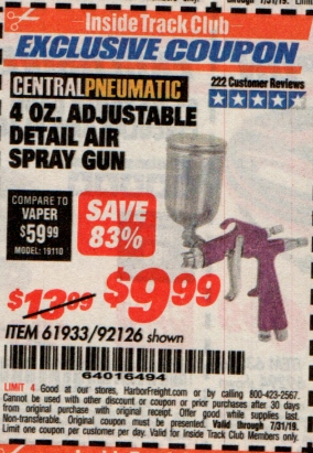 www.hfqpdb.com - 4 OZ. ADJUSTABLE DETAIL SPRAY GUN Lot No. 61933/92126