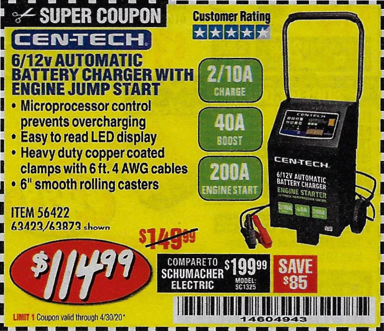 www.hfqpdb.com - CEN-TECH 2/10/40/200 AMP 6/12 VOLT AUTOMATIC BATTERY CHARGER WITH ENGINE JUMP START Lot No. 63423/56422/63873