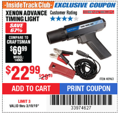Harbor Freight XENON ADVANCE TIMING LIGHT coupon