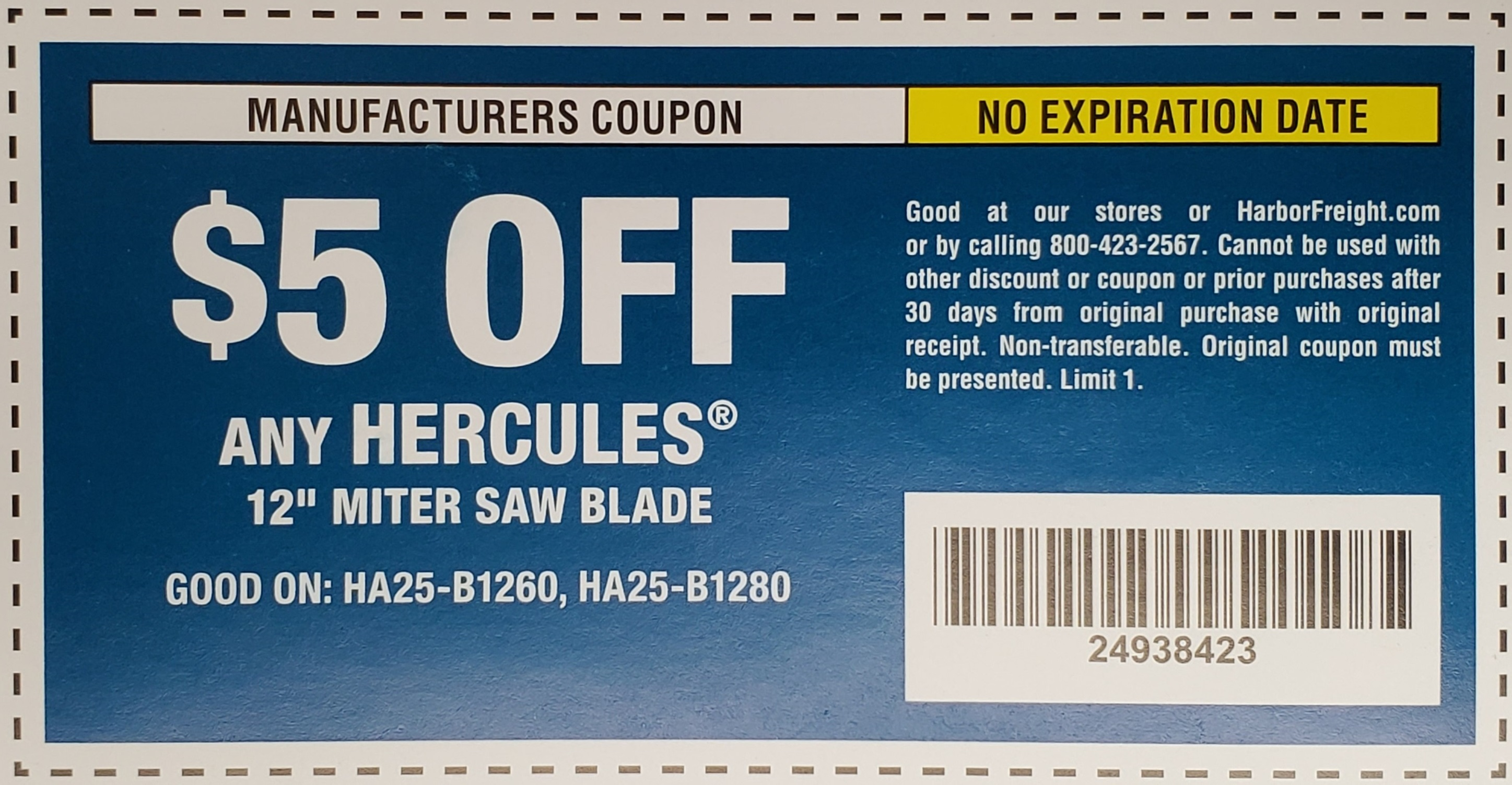 "www.hfqpdb.com - HERCULES 12"" MITER SAW BLADE Lot No. HA25-B1260"