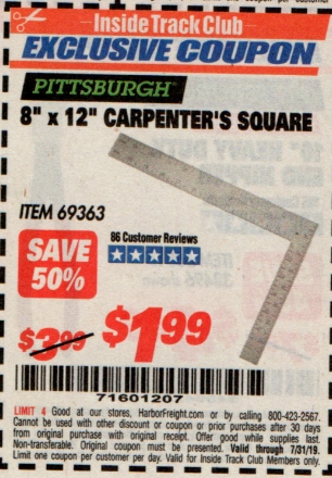 "www.hfqpdb.com - 8"" X 12"" CARPENTER'S SQUARE Lot No. 69363"