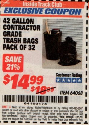 www.hfqpdb.com - 24 GALLON CONTRACTOR GRADE TRASH BAGS PACK OF 32 Lot No. 64068
