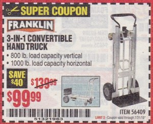 Harbor Freight FRANKLIN 3-IN-1 CONVERTIBLE HAND TRUCK coupon