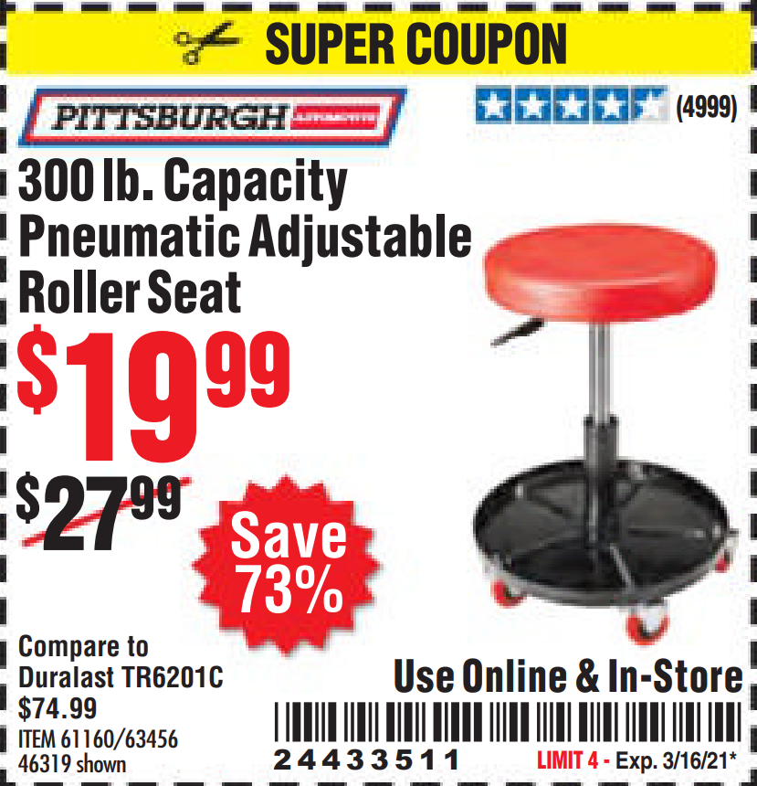 Harbor Freight MECHANIC'S ROLLER SEAT, PNEUMATIC ADJUSTABLE ROLLER SEAT coupon