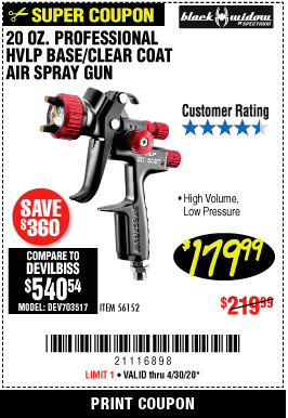 Harbor Freight BLACK WIDOW 20 OZ. PROFESSIONAL HVLP BASE/CLEAR COAT AIR SPRAY GUN, 20 OZ. PROFESSIONAL HTE COMPLIANT TOP COAT AIR SPRAY GUN coupon