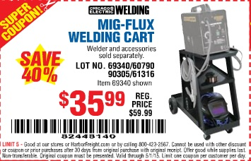 harbor freight coupon mig flux welding cart lot no 69340 60790 90305 61316 expires 5 1 15. Black Bedroom Furniture Sets. Home Design Ideas