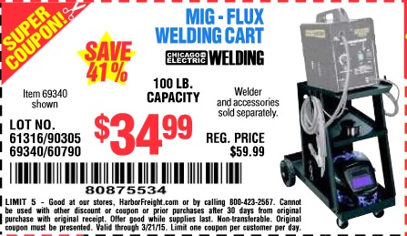harbor freight coupon mig flux welding cart lot no 69340 60790 90305 61316 expires 3 21 15. Black Bedroom Furniture Sets. Home Design Ideas