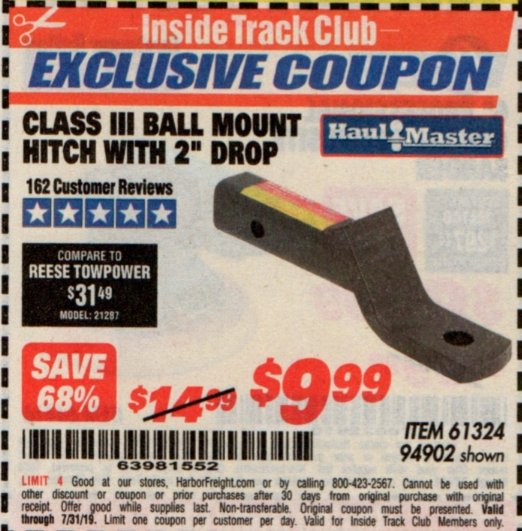 "www.hfqpdb.com - CLASS III BALL MOUNT HITCH WITH 2"" DROP Lot No. 61324, 94902"