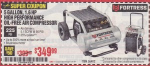 Harbor Freight 5 GALLON 1.6 HP HIGH PERFORMANCE OIL-FREE AIR COMPRESSOR coupon