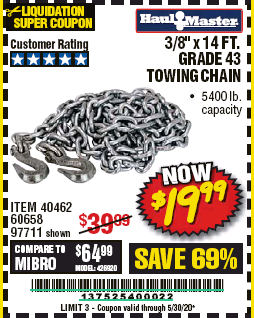 "www.hfqpdb.com - 3/8"" X 14 FT. TOWING CHAIN Lot No. 40462/60658/97711"