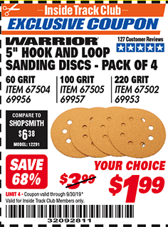 "www.hfqpdb.com - 5"" HOOK AND LOOP SANDING DISCS - PACK OF 4 Lot No. 69956/67504/67505/69957/67502/69953"