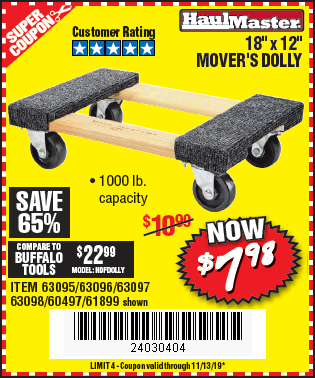 "www.hfqpdb.com - 18"" X 12"" MOVER'S DOLLY Lot No. 60497, 61899, 63095, 63096, 63097, 63098"