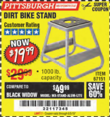 www.hfqpdb.com - 1000 LB. CAPACITY DIRT BIKE STAND Lot No. 67151