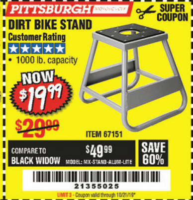 Harbor Freight 1000 LB. CAPACITY DIRT BIKE STAND coupon