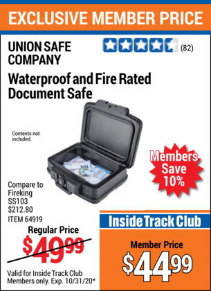 Harbor Freight FIRE RATED AND WATERPROOF DOCUMENT SAFE coupon
