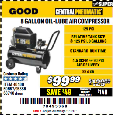 Harbor Freight 8 GALLON OIL-LUBE AIR COMPRESSOR coupon