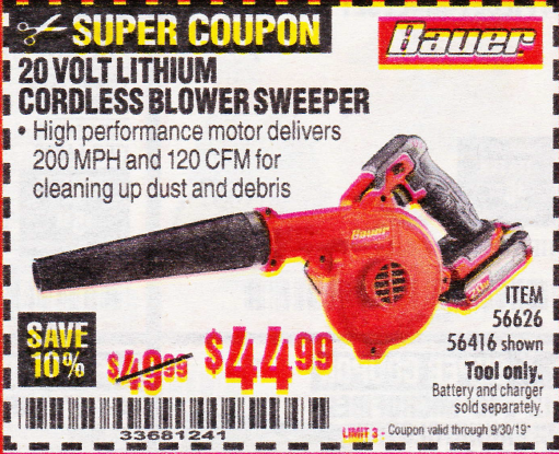 Harbor Freight BAUER 20 VOLT LITHIUM CORDLESS BLOWER coupon