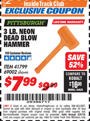 Harbor Freight 3 LB. NEON DEAD BLOW HAMMER coupon
