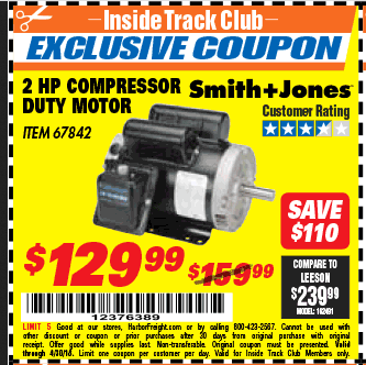 Harbor Freight 2 HP COMPRESSOR DUTY MOTOR coupon