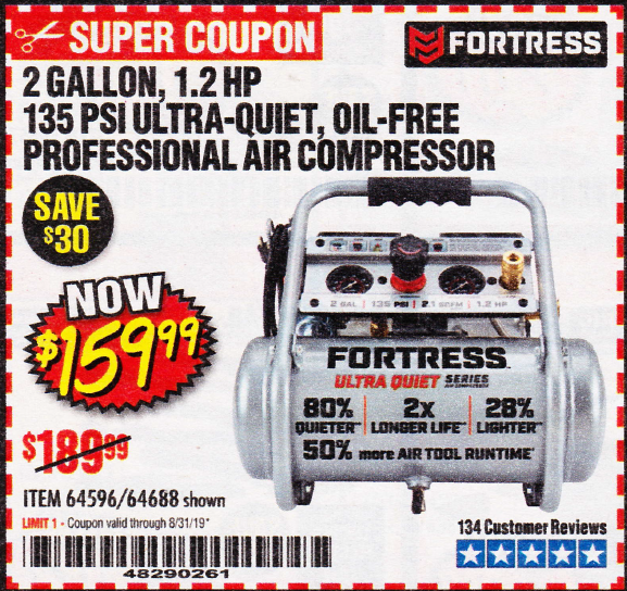Harbor Freight 2 GALLON, 1.2 HP, 135 PSI ULTRA-QUIET, OIL-FREE PROFESSIONAL AIR COMPRESSOR coupon