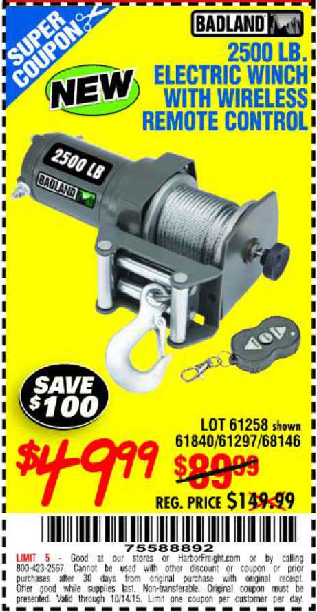 Harbor freight 12000 pound winch coupon / Coupon border in