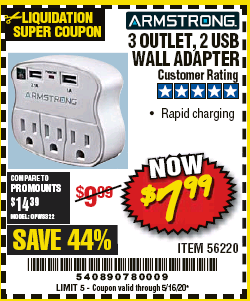 Harbor Freight 3 OUTLET 2 USB WALL ADAPTER coupon