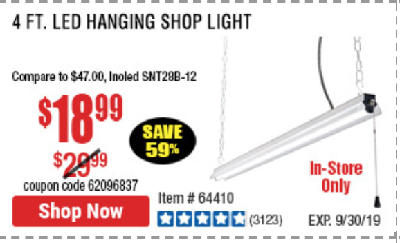 Harbor Freight 5000 LUMEN LED HANGING SHOP LIGHT coupon