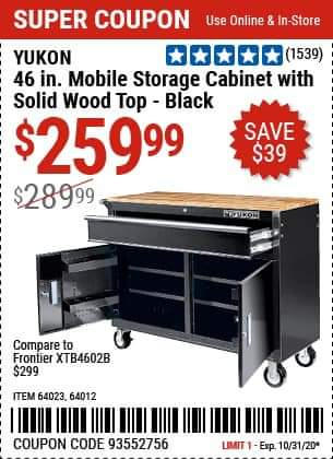 www.hfqpdb.com - 46 IN. MOBILE STORAGE CABINET WITH WOOD TOP Lot No. 64012