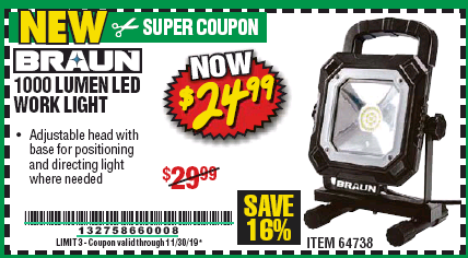 Harbor Freight BRAUN 1000 LUMEN LED WORKLIGHT coupon